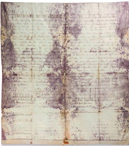 Bula pape Hadrijana IV iz 1158. u kojoj se prvi put spominje festa sv. Vlaha (Državni arhiv u Dubrovniku, fotografija: Institut za povijest umjetnosti)