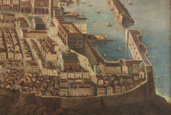Detalj slike koja prikazuje Dubrovnik prije 1667. godine: vide se stara katedrala i stara crkva sv. Vlaha i Luža prislonjena s njezine sjeverne strane (Dubrovački muzeji, fotografija: Institut za povijest umjetnosti)